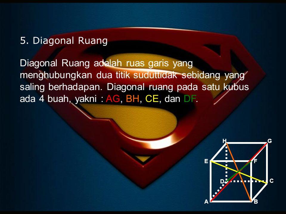 5. Diagonal Ruang Diagonal Ruang adalah ruas garis yang menghubungkan dua titik suduttidak sebidang yang saling berhadapan. Diagonal ruang pada satu k