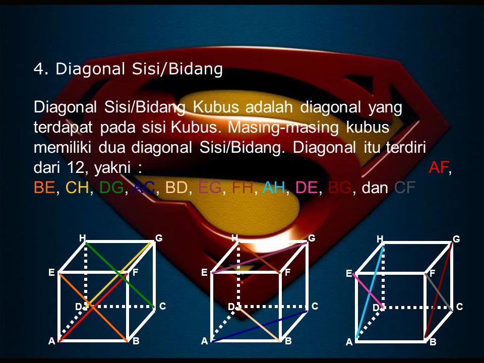 4. Diagonal Sisi/Bidang Diagonal Sisi/Bidang Kubus adalah diagonal yang terdapat pada sisi Kubus. Masing-masing kubus memiliki dua diagonal Sisi/Bidan