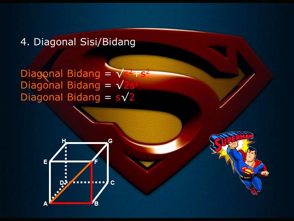 Diagonal Bidang = √s 2 +s 2 Diagonal Bidang = √2s 2 Diagonal Bidang = s√2 AB CD EF GH