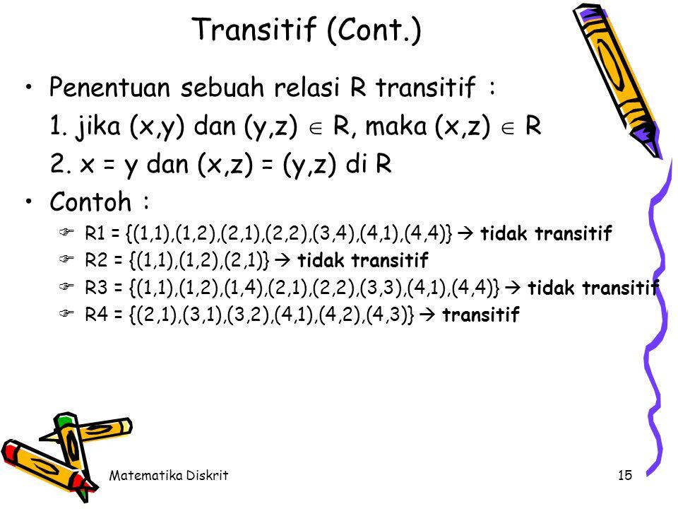 Matematika Diskrit15 Transitif (Cont.) Penentuan sebuah relasi R transitif : 1.