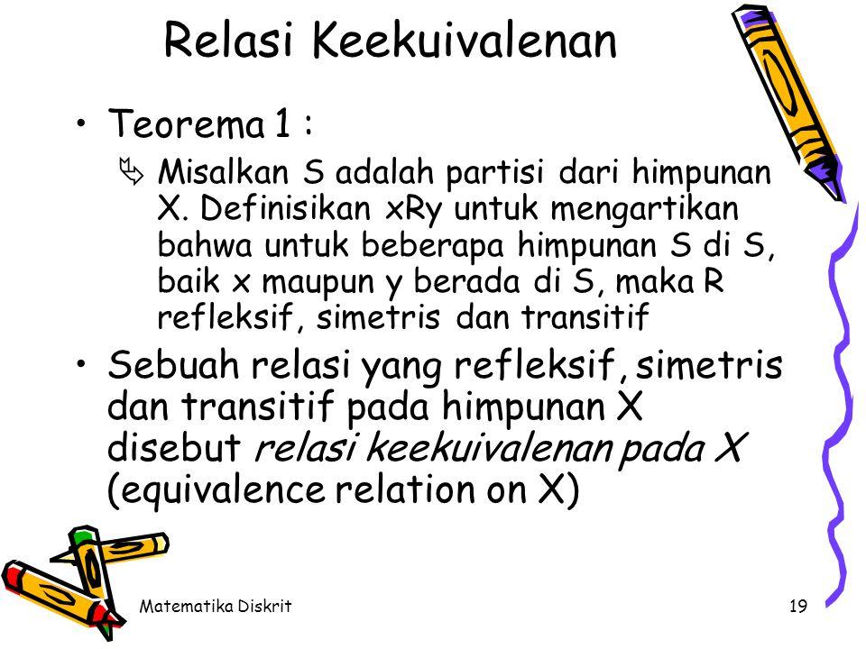 Matematika Diskrit19 Relasi Keekuivalenan Teorema 1 :  Misalkan S adalah partisi dari himpunan X.