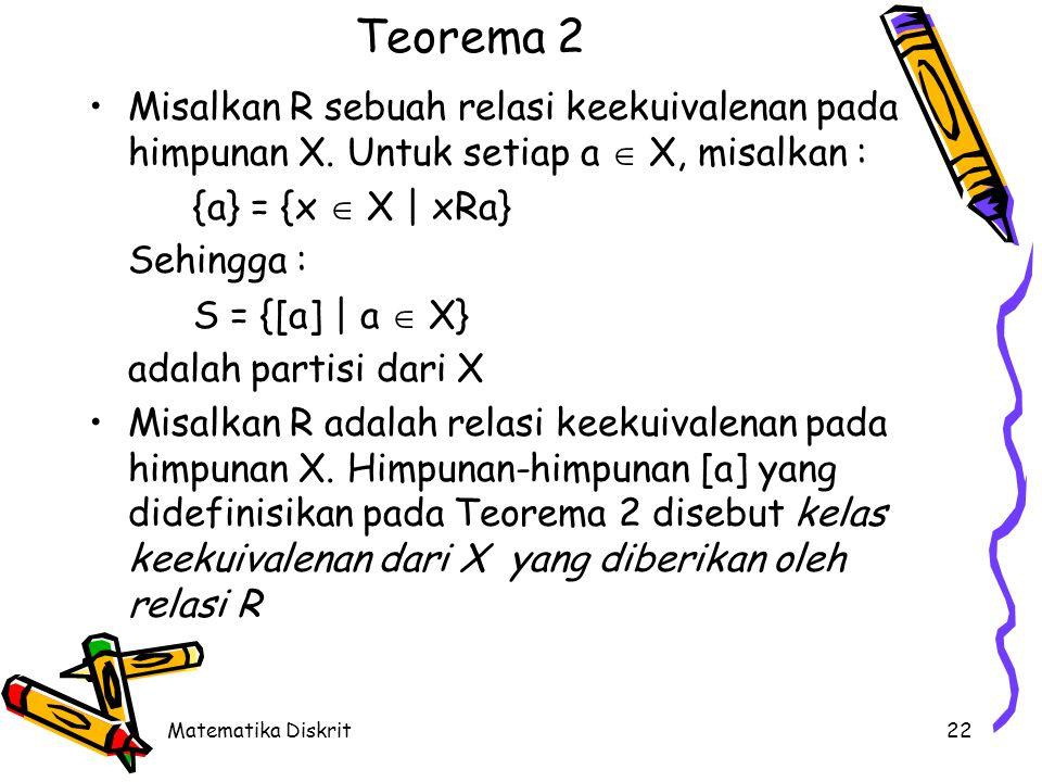 Matematika Diskrit22 Teorema 2 Misalkan R sebuah relasi keekuivalenan pada himpunan X.