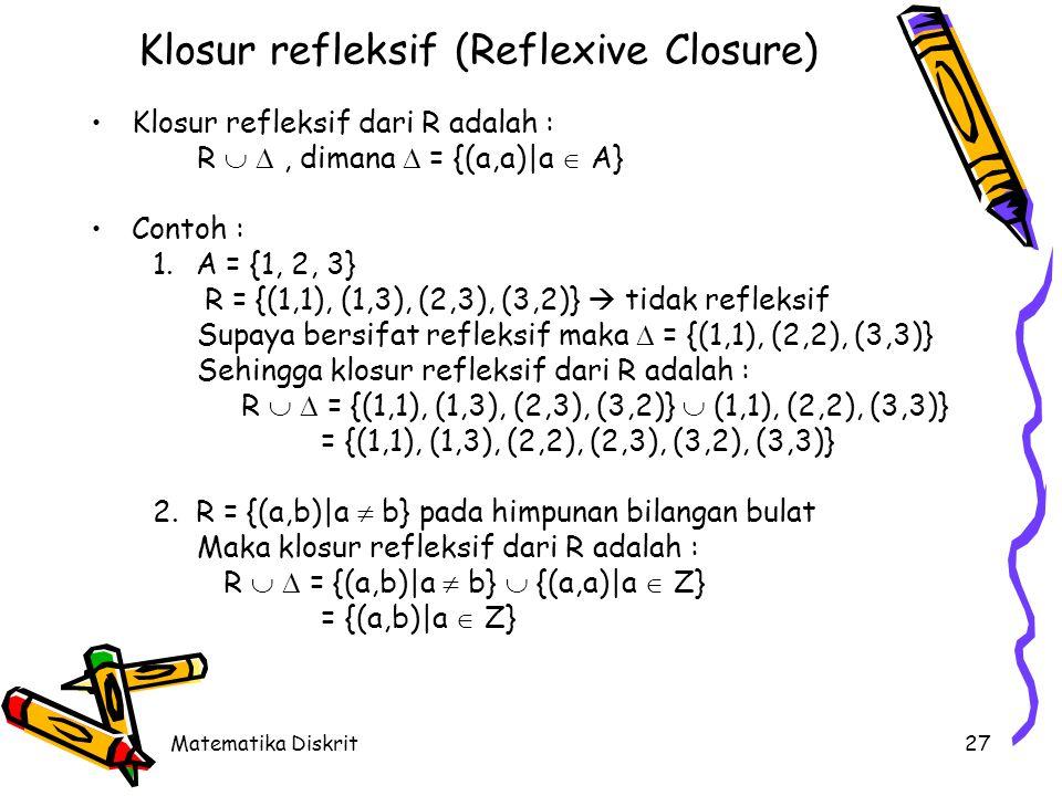 Matematika Diskrit27 Klosur refleksif (Reflexive Closure) Klosur refleksif dari R adalah : R  , dimana  = {(a,a)|a  A} Contoh : 1.A = {1, 2, 3} R = {(1,1), (1,3), (2,3), (3,2)}  tidak refleksif Supaya bersifat refleksif maka  = {(1,1), (2,2), (3,3)} Sehingga klosur refleksif dari R adalah : R   = {(1,1), (1,3), (2,3), (3,2)}  (1,1), (2,2), (3,3)} = {(1,1), (1,3), (2,2), (2,3), (3,2), (3,3)} 2.R = {(a,b)|a  b} pada himpunan bilangan bulat Maka klosur refleksif dari R adalah : R   = {(a,b)|a  b}  {(a,a)|a  Z} = {(a,b)|a  Z}