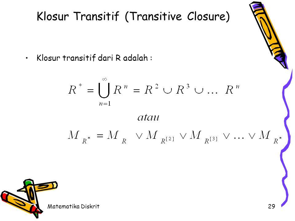 Matematika Diskrit29 Klosur Transitif (Transitive Closure) Klosur transitif dari R adalah :