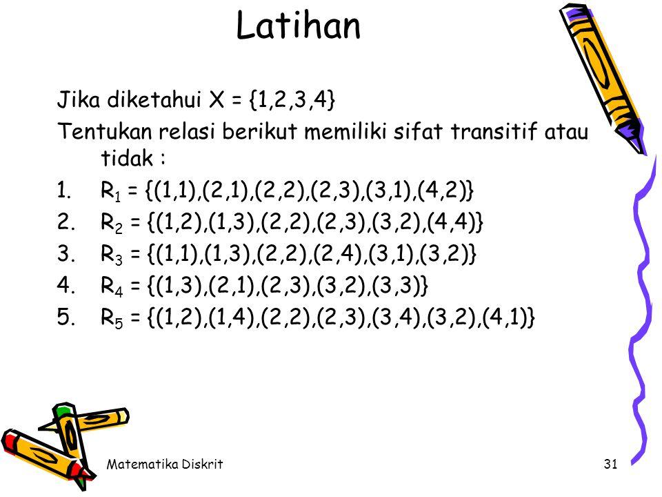 Matematika Diskrit31 Latihan Jika diketahui X = {1,2,3,4} Tentukan relasi berikut memiliki sifat transitif atau tidak : 1.R 1 = {(1,1),(2,1),(2,2),(2,3),(3,1),(4,2)} 2.R 2 = {(1,2),(1,3),(2,2),(2,3),(3,2),(4,4)} 3.R 3 = {(1,1),(1,3),(2,2),(2,4),(3,1),(3,2)} 4.R 4 = {(1,3),(2,1),(2,3),(3,2),(3,3)} 5.R 5 = {(1,2),(1,4),(2,2),(2,3),(3,4),(3,2),(4,1)}