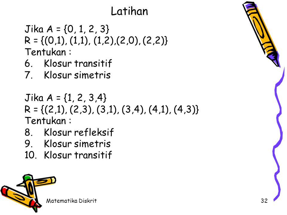 Matematika Diskrit32 Latihan Jika A = {0, 1, 2, 3} R = {(0,1), (1,1), (1,2),(2,0), (2,2)} Tentukan : 6.Klosur transitif 7.Klosur simetris Jika A = {1, 2, 3,4} R = {(2,1), (2,3), (3,1), (3,4), (4,1), (4,3)} Tentukan : 8.Klosur refleksif 9.Klosur simetris 10.Klosur transitif