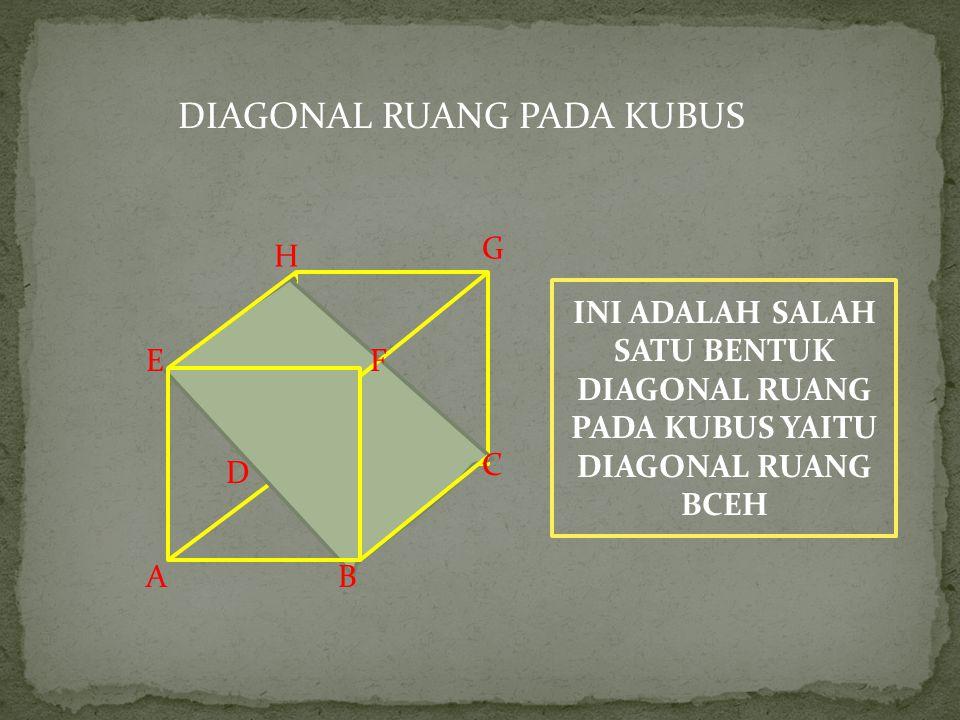 Kita lanjutkan materi kita mengenai diagonal bidang dan diagonal ruang pada kubus. Pengertian diagonal bidang: Diagonal bidang merupakan garis yang me