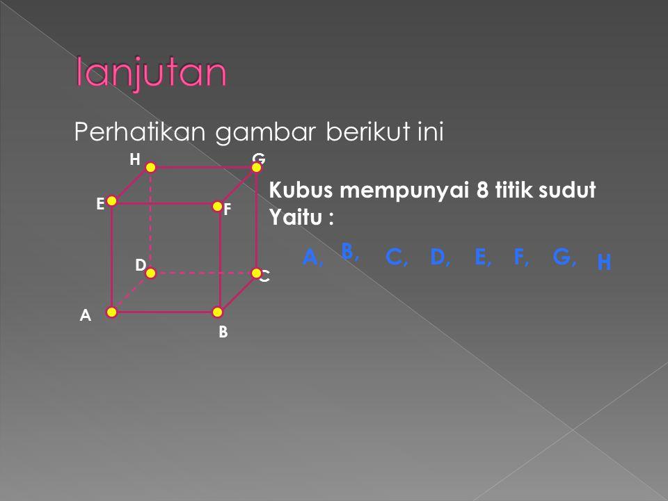 Perhatikan gambar berikut ini Kubus mempunyai 8 titik sudut Yaitu : B A C D E F GH A, B, C,D,E,F,G, H