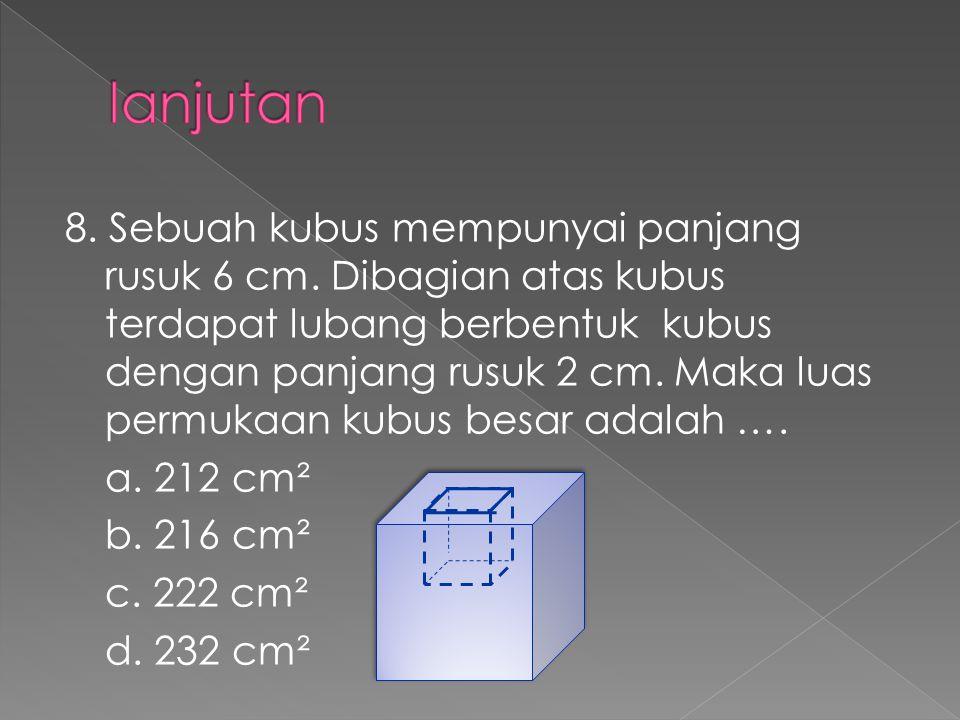 8. Sebuah kubus mempunyai panjang rusuk 6 cm. Dibagian atas kubus terdapat lubang berbentuk kubus dengan panjang rusuk 2 cm. Maka luas permukaan kubus