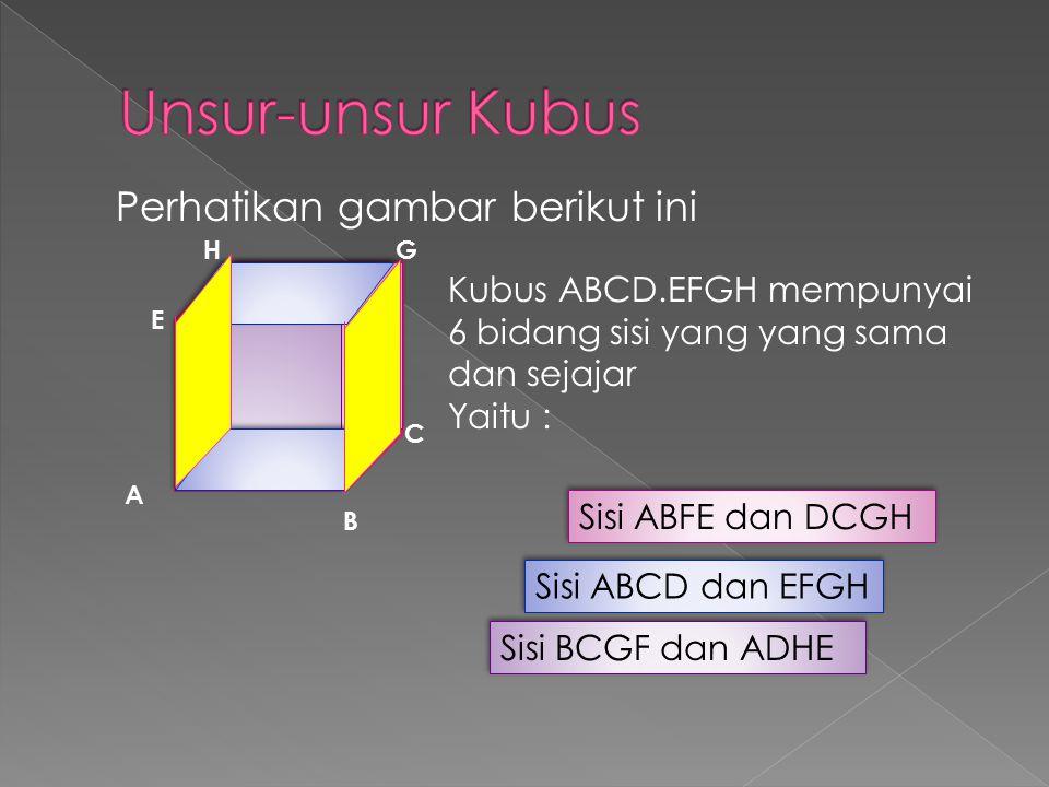 Lanjutan Kubus Mempunyai 3 pasang rusuk yang sama panjang dan sejajar (dikelompokkan menjadi 3 kelompok warna ), yaitu Rusuk AB//CD//EF//GH Rusuk AE//BF//CG//DH Rusuk AB//DC//FE//HG A B C H E D F G Perhatikan tayangan berikut ini