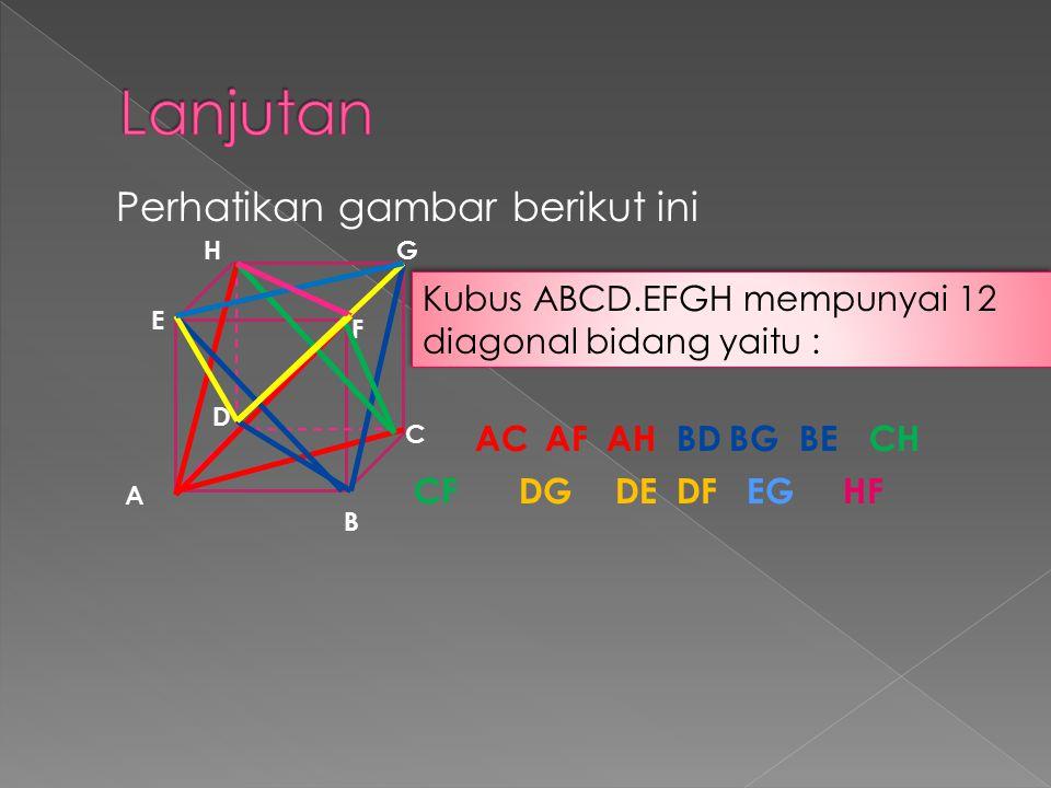 Perhatikan gambar berikut ini Kubus mempunyai 6 bidang Diagonal yaitu : Kubus mempunyai 6 bidang Diagonal yaitu : B A C D E F GH Bidang diagonal ABGH Bidang diagonal CDEF Bidang diagonal ADGF Bidang diagonal BCHF Bidang diagonal ACGF Bidang diagonal BDHF