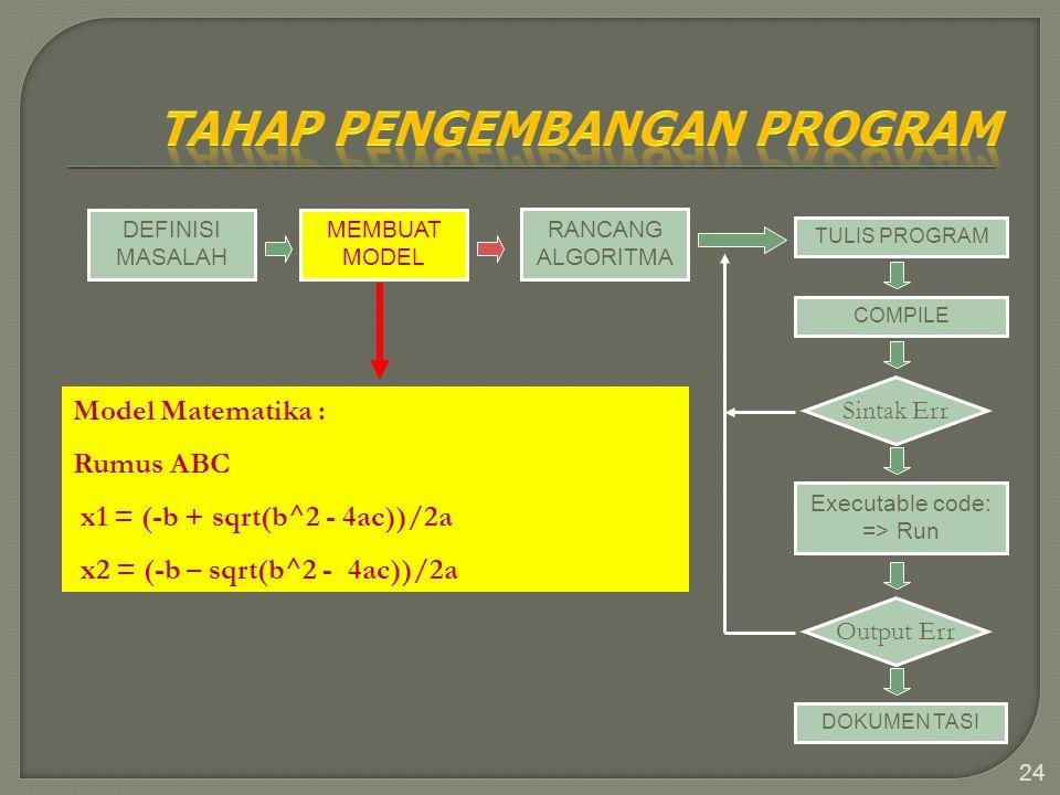 24 DEFINISI MASALAH MEMBUAT MODEL RANCANG ALGORITMA TULIS PROGRAM COMPILE Sintak Err Executable code: => Run Output Err DOKUMEN TASI Model Matematika
