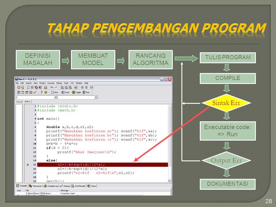28 DEFINISI MASALAH MEMBUAT MODEL RANCANG ALGORITMA TULIS PROGRAM COMPILE Sintak Err Executable code: => Run Output Err DOKUMEN TASI