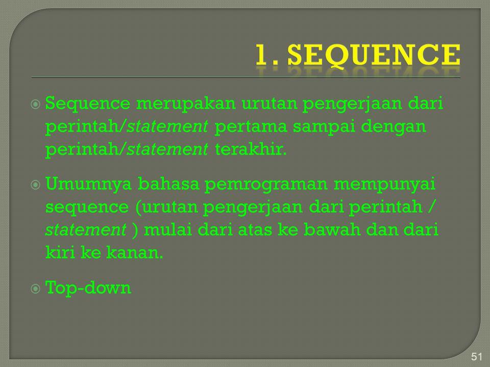  Sequence merupakan urutan pengerjaan dari perintah/statement pertama sampai dengan perintah/statement terakhir.  Umumnya bahasa pemrograman mempuny