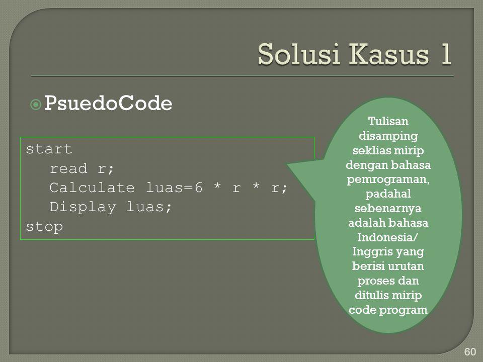  PsuedoCode 60 start read r; Calculate luas=6 * r * r; Display luas; stop Tulisan disamping seklias mirip dengan bahasa pemrograman, padahal sebenarn