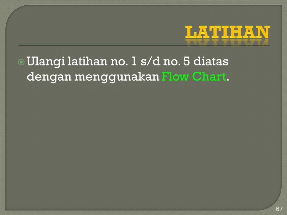  Ulangi latihan no. 1 s/d no. 5 diatas dengan menggunakan Flow Chart. 67