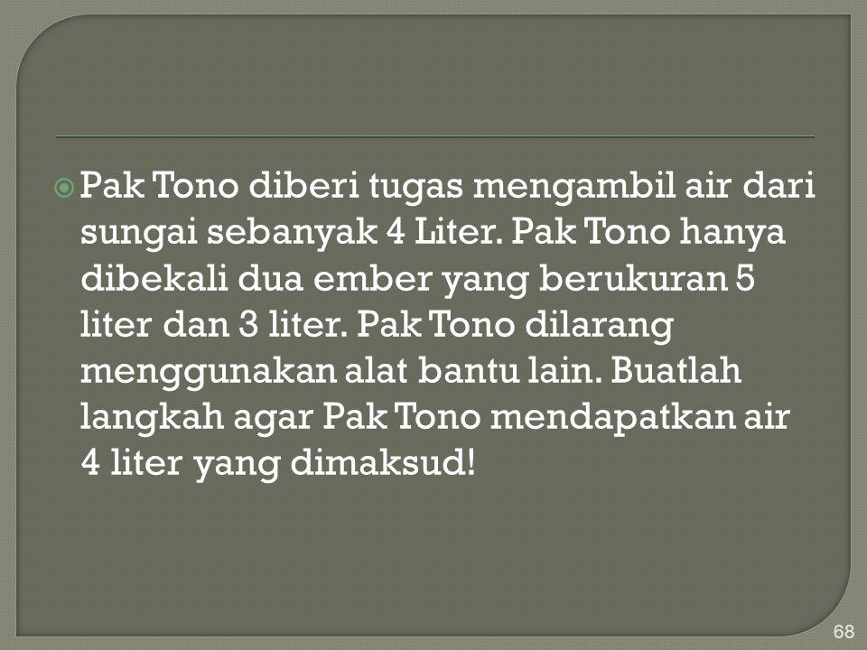  Pak Tono diberi tugas mengambil air dari sungai sebanyak 4 Liter. Pak Tono hanya dibekali dua ember yang berukuran 5 liter dan 3 liter. Pak Tono dil