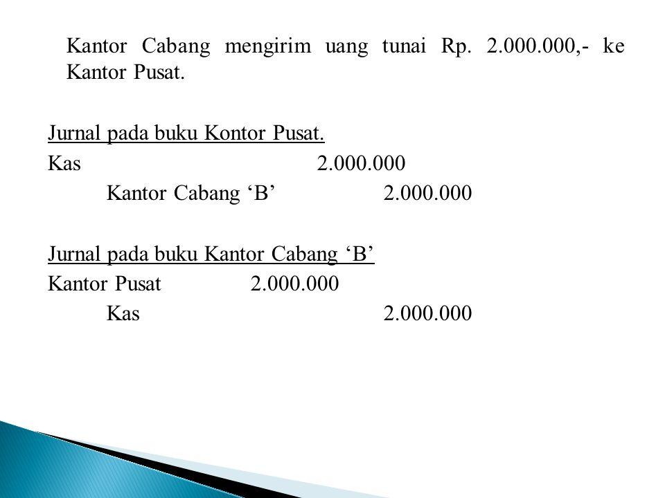 Kantor Cabang mengirim uang tunai Rp. 2.000.000,- ke Kantor Pusat. Jurnal pada buku Kontor Pusat. Kas 2.000.000 Kantor Cabang 'B' 2.000.000 Jurnal pad