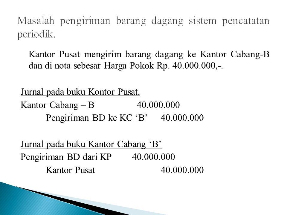 Kantor Pusat mengirim barang dagang ke Kantor Cabang-B dan di nota sebesar Harga Pokok Rp. 40.000.000,-. Jurnal pada buku Kontor Pusat. Kantor Cabang