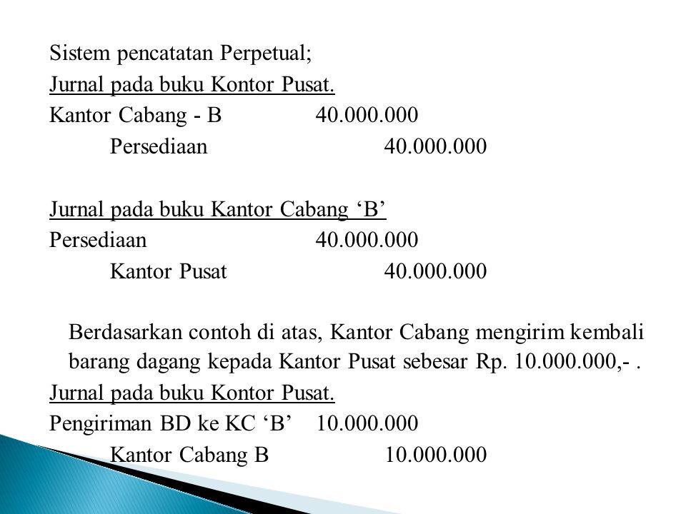 Sistem pencatatan Perpetual; Jurnal pada buku Kontor Pusat. Kantor Cabang - B40.000.000 Persediaan40.000.000 Jurnal pada buku Kantor Cabang 'B' Persed