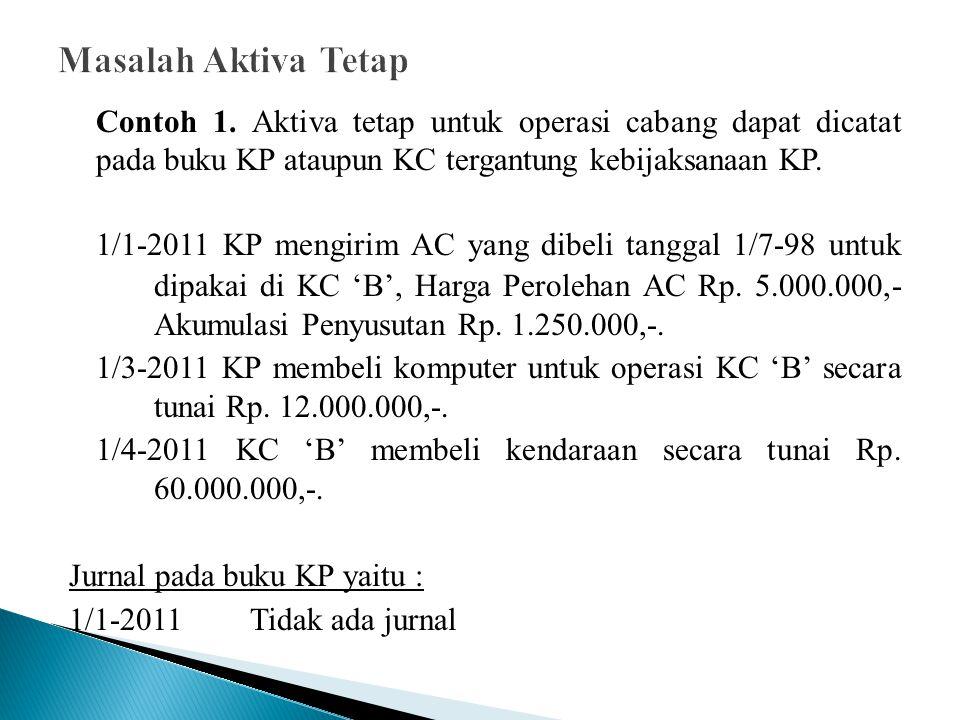 Contoh 1. Aktiva tetap untuk operasi cabang dapat dicatat pada buku KP ataupun KC tergantung kebijaksanaan KP. 1/1-2011 KP mengirim AC yang dibeli tan