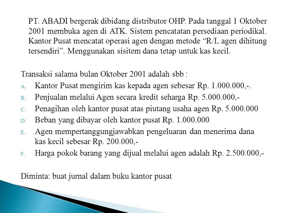 Penyelesaian: (a) Dana kerja-agen ATK 1.000.000 Kas 1.000.000 (b) Piutang Usaha 5.000.000 Penjualan-agen ATK 5.000.000 (c ) Kas 5.000.000 Piutang Usaha 5.000.000 (d) Beban-beban – agen ATK 1.000.000 Kas 1.000.000