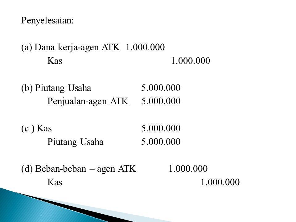 Penyelesaian: (a) Dana kerja-agen ATK 1.000.000 Kas 1.000.000 (b) Piutang Usaha 5.000.000 Penjualan-agen ATK 5.000.000 (c ) Kas 5.000.000 Piutang Usah