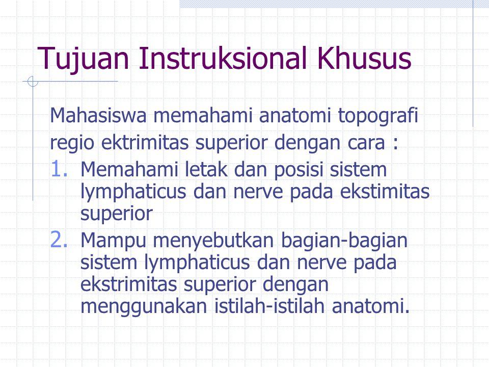 Tujuan Instruksional Khusus Mahasiswa memahami anatomi topografi regio ektrimitas superior dengan cara : 1. Memahami letak dan posisi sistem lymphatic