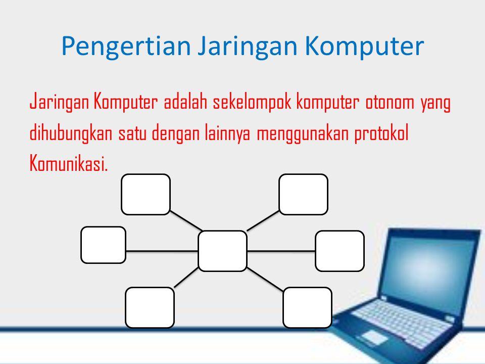 Pengertian Jaringan Komputer Jaringan Komputer adalah sekelompok komputer otonom yang dihubungkan satu dengan lainnya menggunakan protokol Komunikasi.
