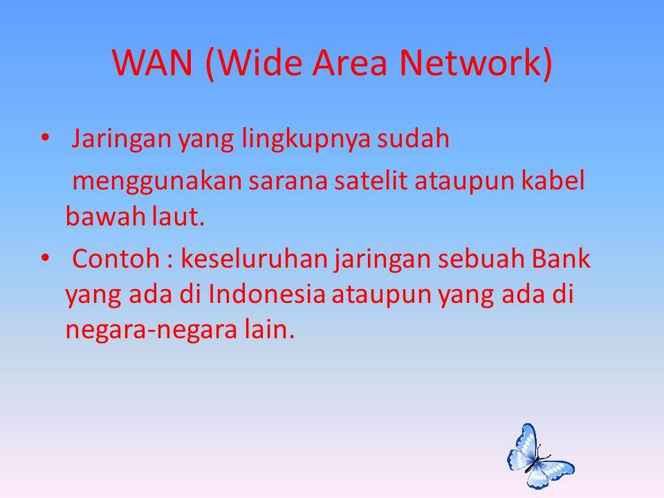 WAN (Wide Area Network) Jaringan yang lingkupnya sudah menggunakan sarana satelit ataupun kabel bawah laut. Contoh : keseluruhan jaringan sebuah Bank