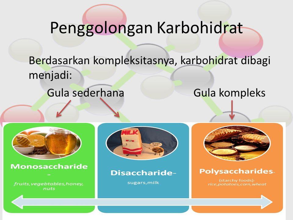 Penggolongan Karbohidrat Berdasarkan kompleksitasnya, karbohidrat dibagi menjadi: Gula sederhanaGula kompleks