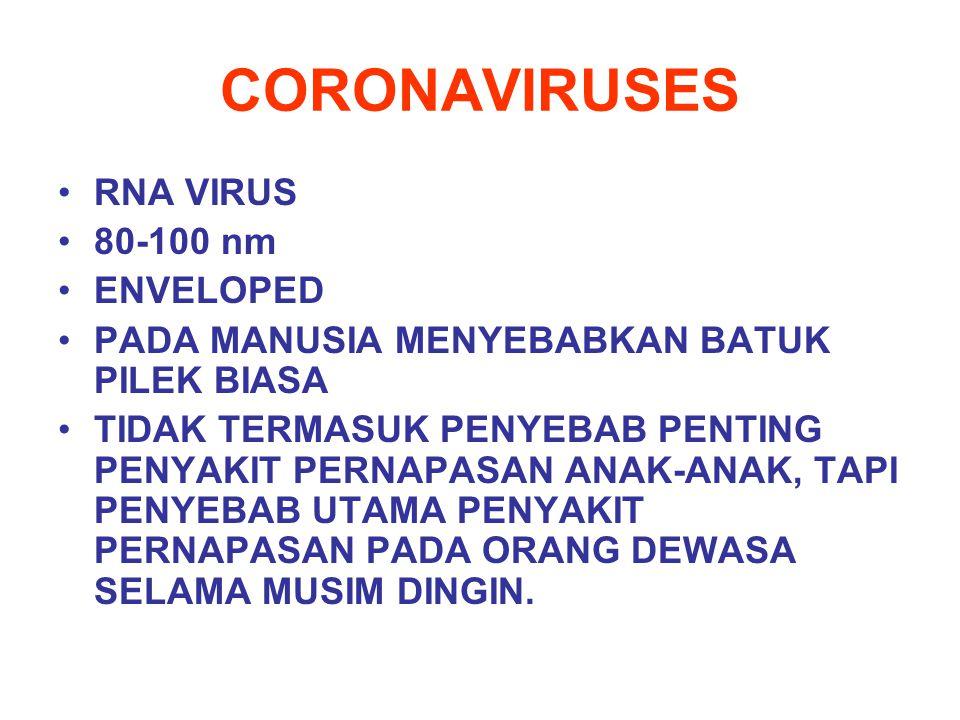 CORONAVIRUSES RNA VIRUS 80-100 nm ENVELOPED PADA MANUSIA MENYEBABKAN BATUK PILEK BIASA TIDAK TERMASUK PENYEBAB PENTING PENYAKIT PERNAPASAN ANAK-ANAK,