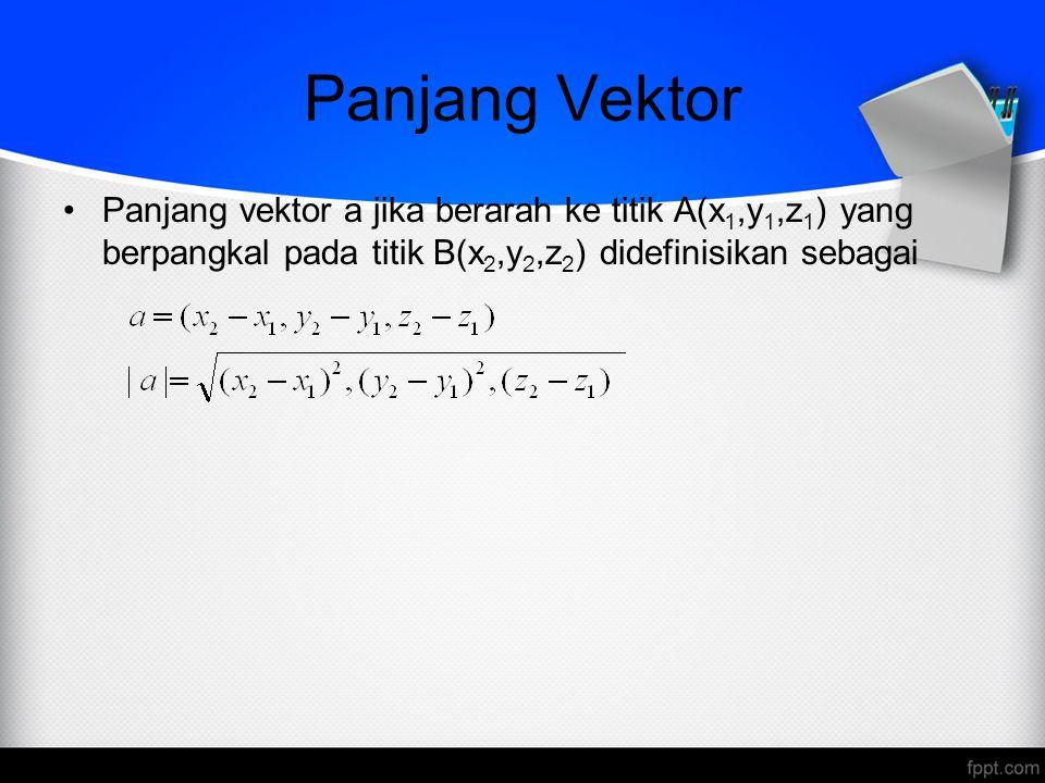 Panjang Vektor Panjang vektor a jika berarah ke titik A(x 1,y 1,z 1 ) yang berpangkal pada titik B(x 2,y 2,z 2 ) didefinisikan sebagai