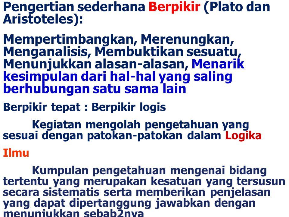 Pengertian sederhana Berpikir (Plato dan Aristoteles): Mempertimbangkan, Merenungkan, Menganalisis, Membuktikan sesuatu, Menunjukkan alasan-alasan, Me