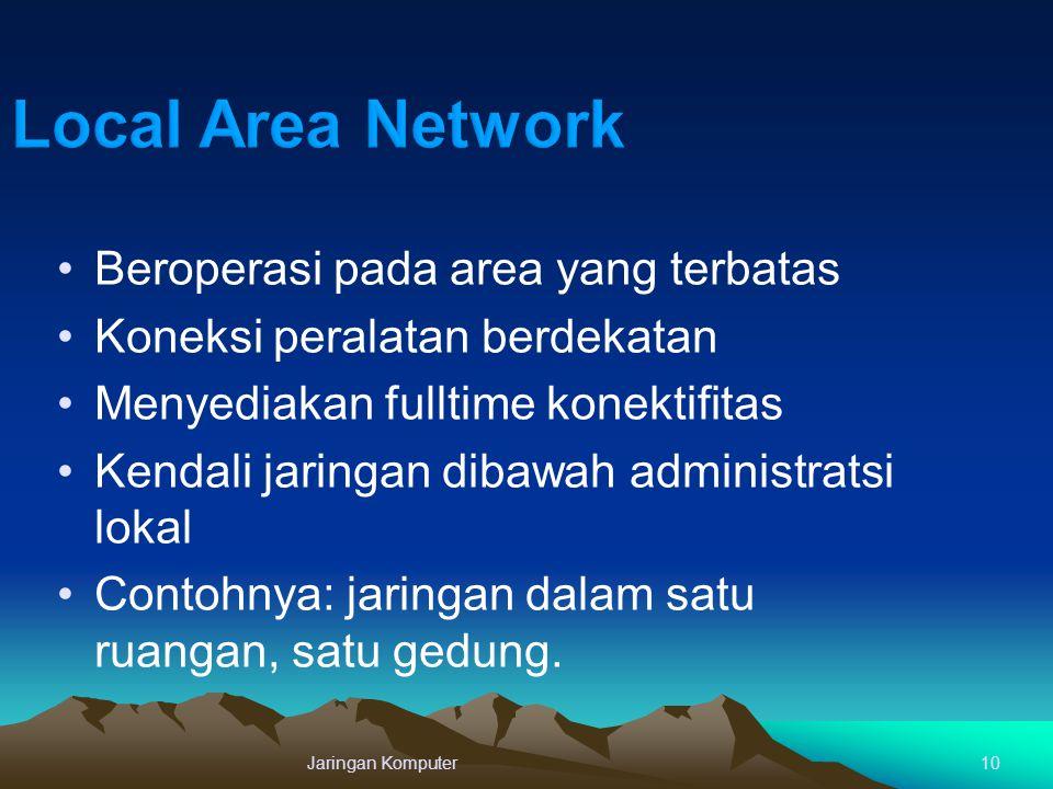 10 Beroperasi pada area yang terbatas Koneksi peralatan berdekatan Menyediakan fulltime konektifitas Kendali jaringan dibawah administratsi lokal Cont