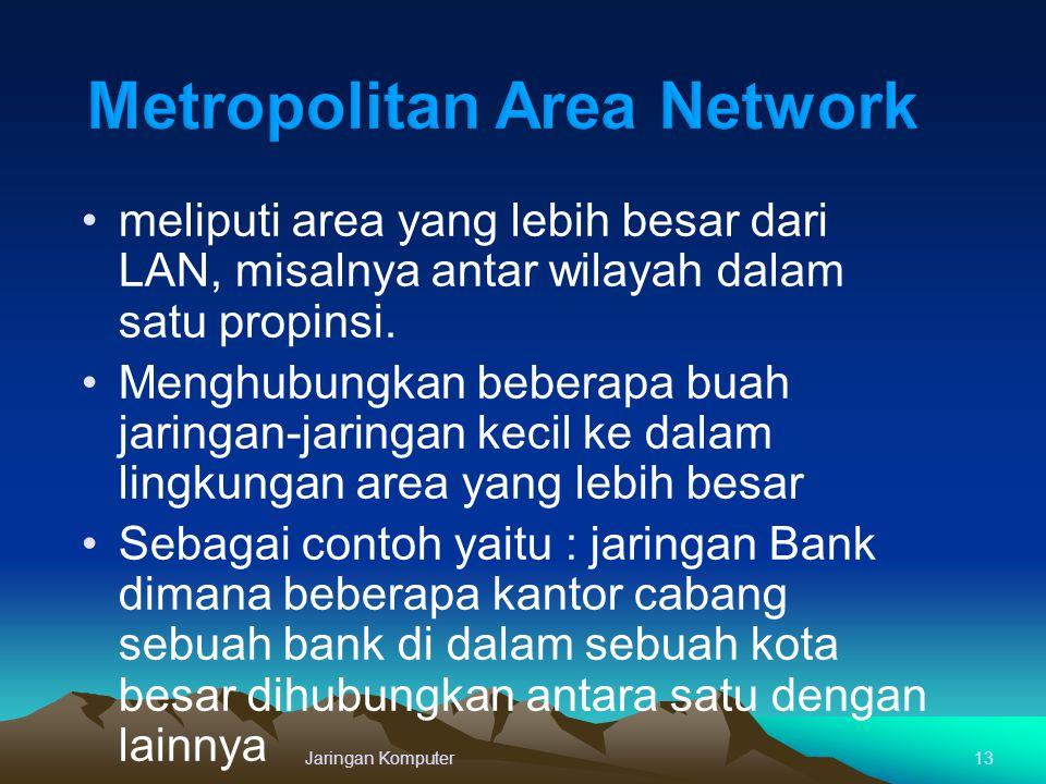 Jaringan Komputer13 meliputi area yang lebih besar dari LAN, misalnya antar wilayah dalam satu propinsi. Menghubungkan beberapa buah jaringan-jaringan