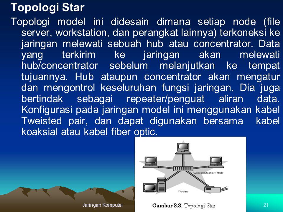 Topologi Star Topologi model ini didesain dimana setiap node (file server, workstation, dan perangkat lainnya) terkoneksi ke jaringan melewati sebuah
