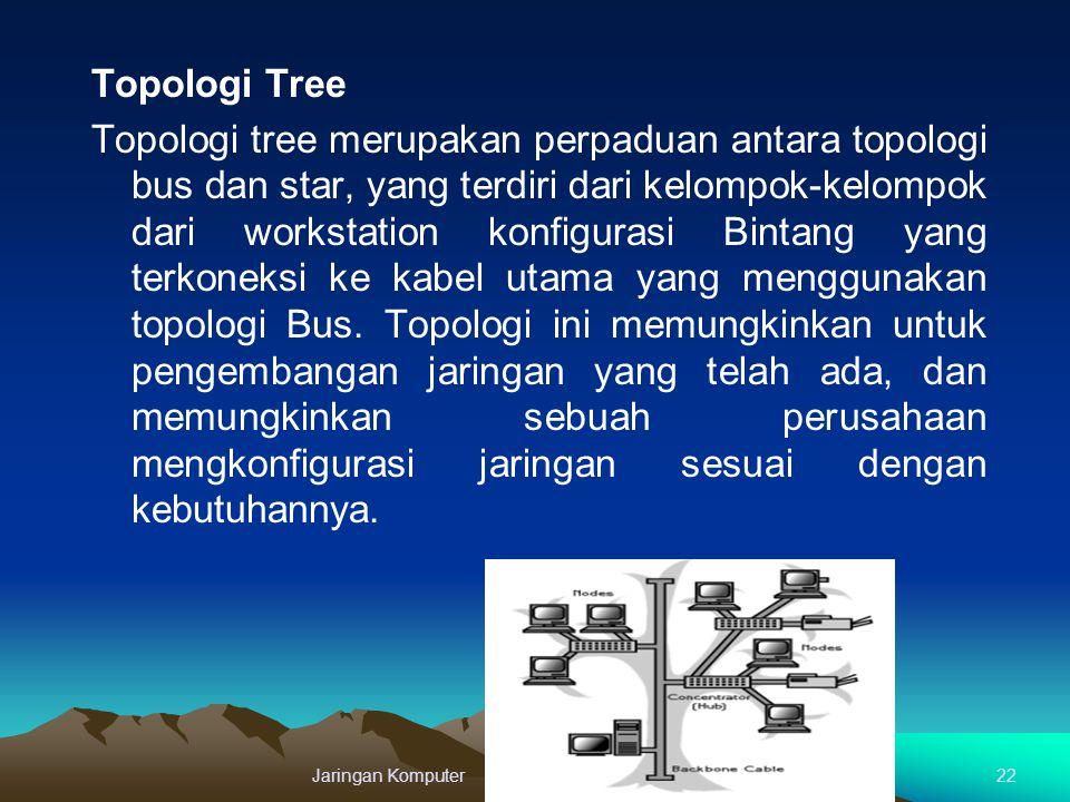 Topologi Tree Topologi tree merupakan perpaduan antara topologi bus dan star, yang terdiri dari kelompok-kelompok dari workstation konfigurasi Bintang