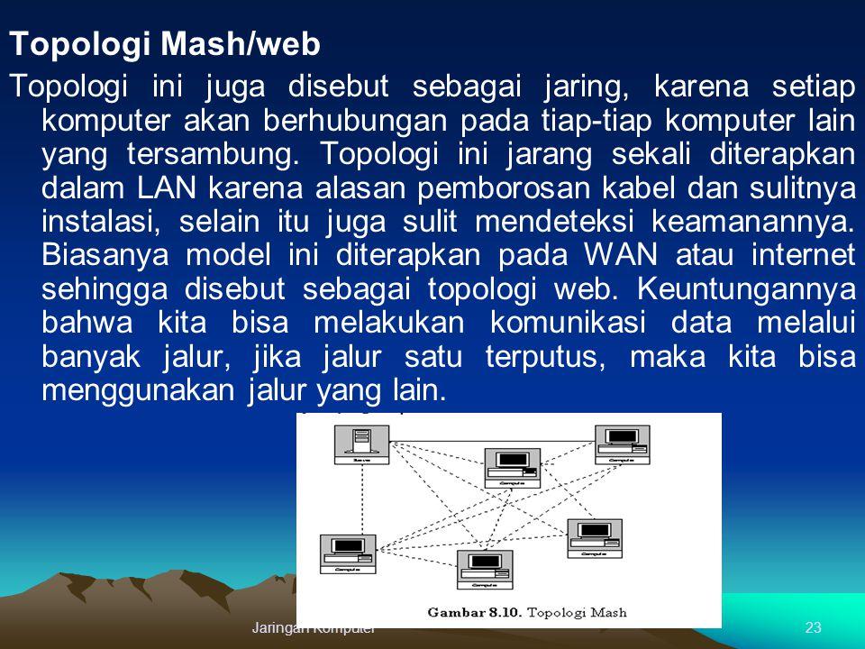 Topologi Mash/web Topologi ini juga disebut sebagai jaring, karena setiap komputer akan berhubungan pada tiap-tiap komputer lain yang tersambung. Topo