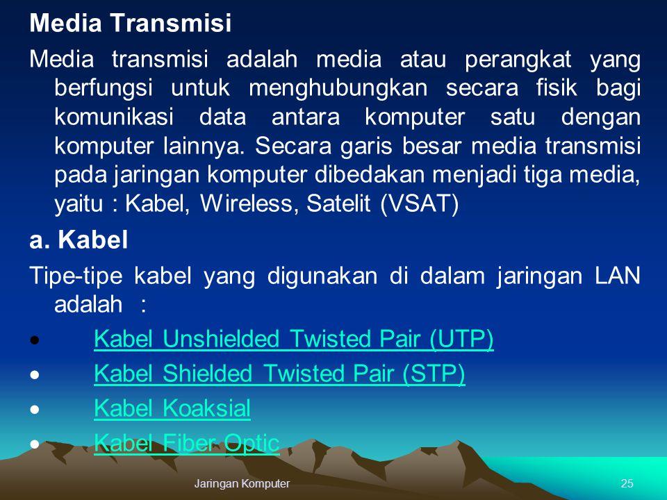 Media Transmisi Media transmisi adalah media atau perangkat yang berfungsi untuk menghubungkan secara fisik bagi komunikasi data antara komputer satu