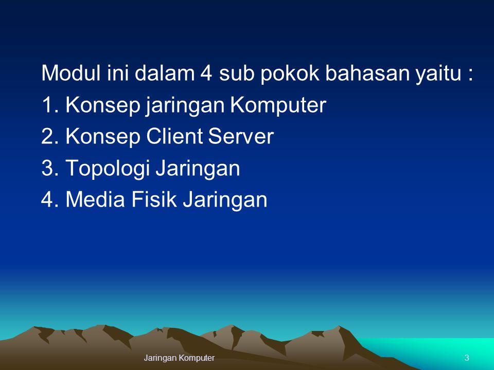 Modul ini dalam 4 sub pokok bahasan yaitu : 1. Konsep jaringan Komputer 2. Konsep Client Server 3. Topologi Jaringan 4. Media Fisik Jaringan Jaringan