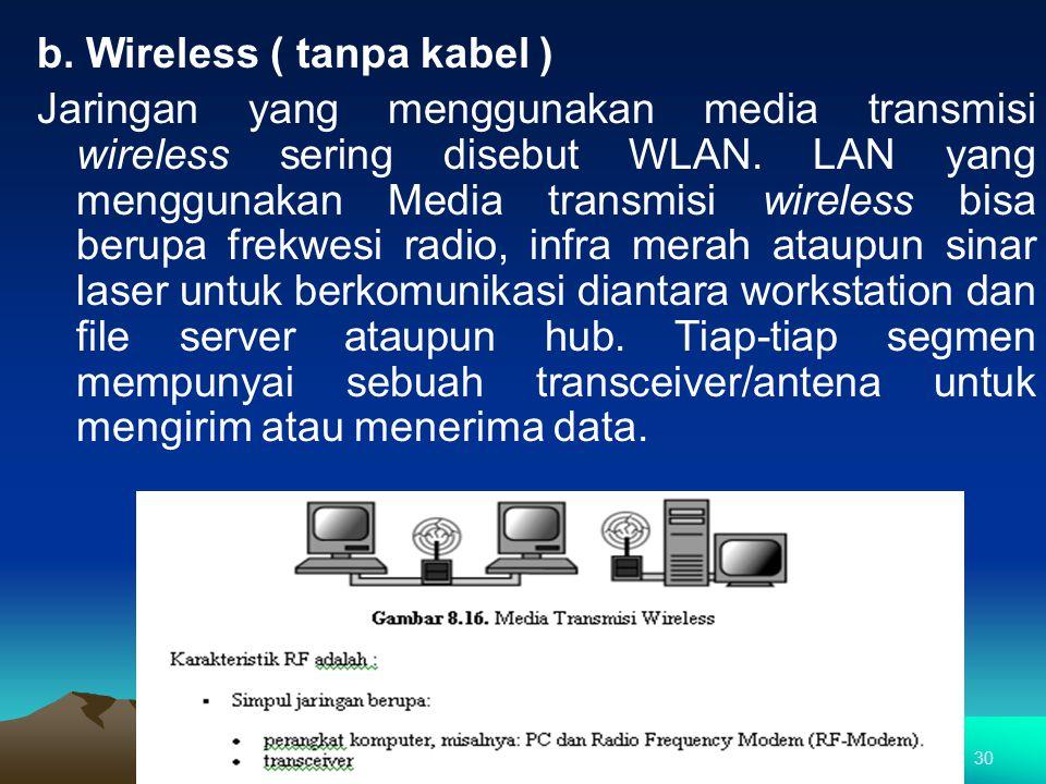 b. Wireless ( tanpa kabel ) Jaringan yang menggunakan media transmisi wireless sering disebut WLAN. LAN yang menggunakan Media transmisi wireless bisa