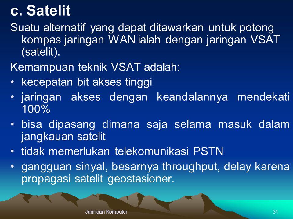 c. Satelit Suatu alternatif yang dapat ditawarkan untuk potong kompas jaringan WAN ialah dengan jaringan VSAT (satelit). Kemampuan teknik VSAT adalah: