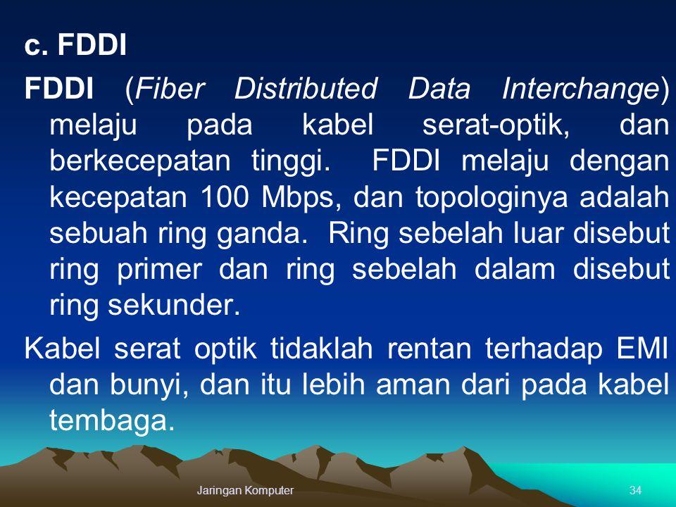 c. FDDI FDDI (Fiber Distributed Data Interchange) melaju pada kabel serat-optik, dan berkecepatan tinggi. FDDI melaju dengan kecepatan 100 Mbps, dan t