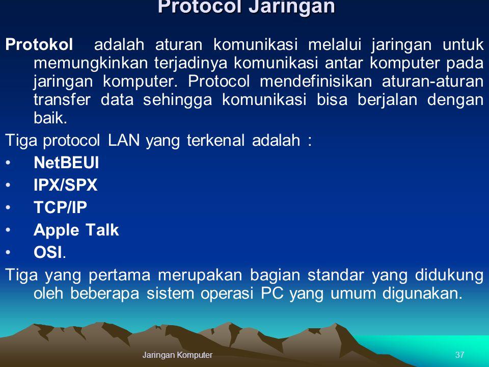 Protocol Jaringan Protokol adalah aturan komunikasi melalui jaringan untuk memungkinkan terjadinya komunikasi antar komputer pada jaringan komputer. P