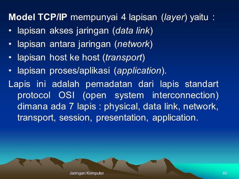 Model TCP/IP mempunyai 4 lapisan (layer) yaitu : lapisan akses jaringan (data link) lapisan antara jaringan (network) lapisan host ke host (transport)