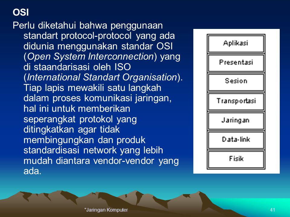 OSI Perlu diketahui bahwa penggunaan standart protocol-protocol yang ada didunia menggunakan standar OSI (Open System Interconnection) yang di staanda