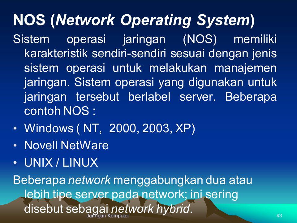 NOS (Network Operating System) Sistem operasi jaringan (NOS) memiliki karakteristik sendiri-sendiri sesuai dengan jenis sistem operasi untuk melakukan