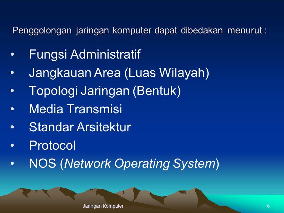 Penggolongan jaringan komputer dapat dibedakan menurut : Fungsi Administratif Jangkauan Area (Luas Wilayah) Topologi Jaringan (Bentuk) Media Transmisi