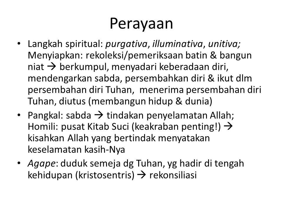 Perayaan Langkah spiritual: purgativa, illuminativa, unitiva; Menyiapkan: rekoleksi/pemeriksaan batin & bangun niat  berkumpul, menyadari keberadaan